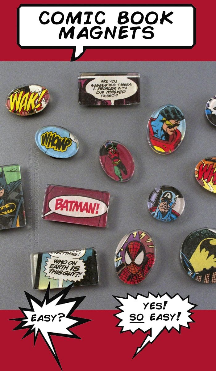 Comic Book Fans! Check out these awesome comic book magnets, so easy to make and perfect for any superhero fan :) From Amanda Formaro of Crafts by Amanda #craftstomakeandsell