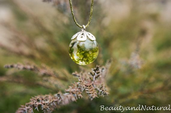 Real moss globe necklace unique woodland by BeautyandNatural