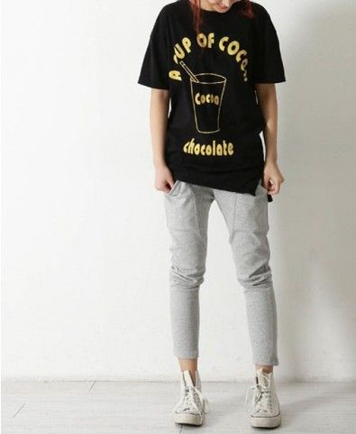 'A CUP OF COCOA' T-shirt in Black