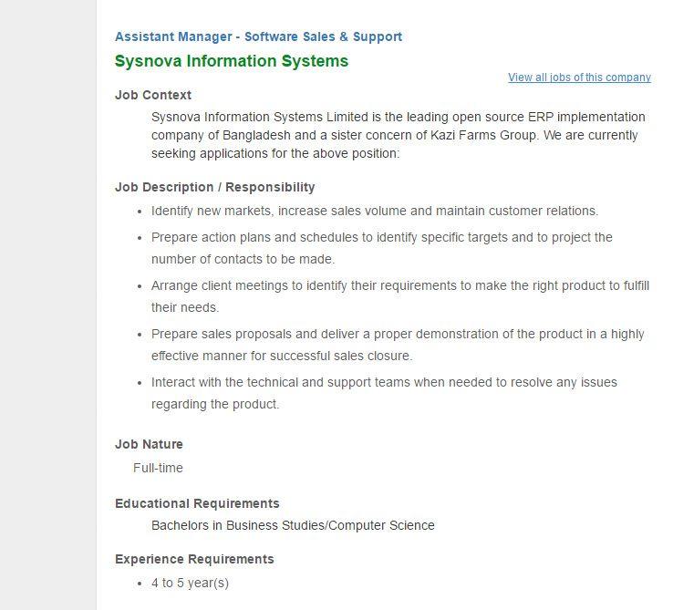 Sysnova Information Systems - Position Assistant Manager - sales assistant job description