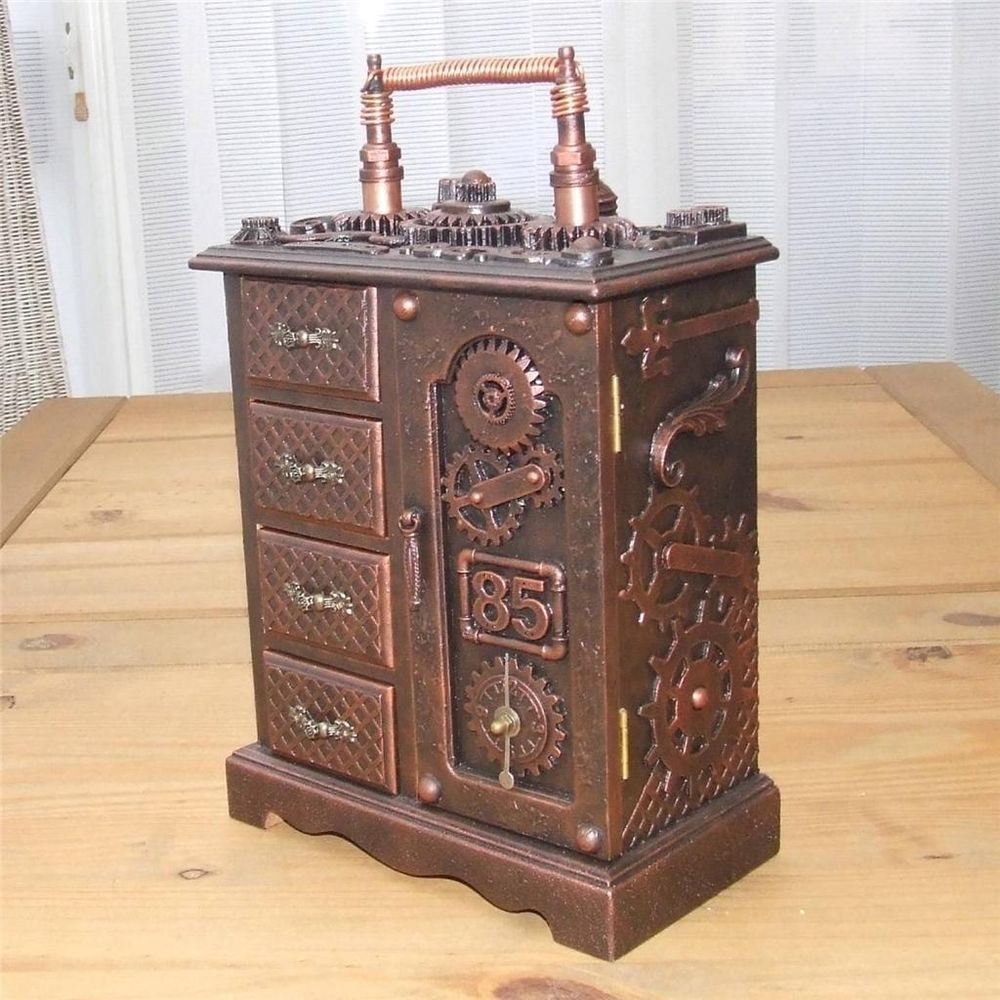 Steampunk wooden jewellery trinket mini drawers box unique handmade
