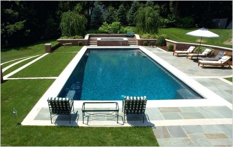 35 Awesome Rectangle Pool Landscaping Ideas Simple Pool Rectangle Pool Rectangular Swimming Pools