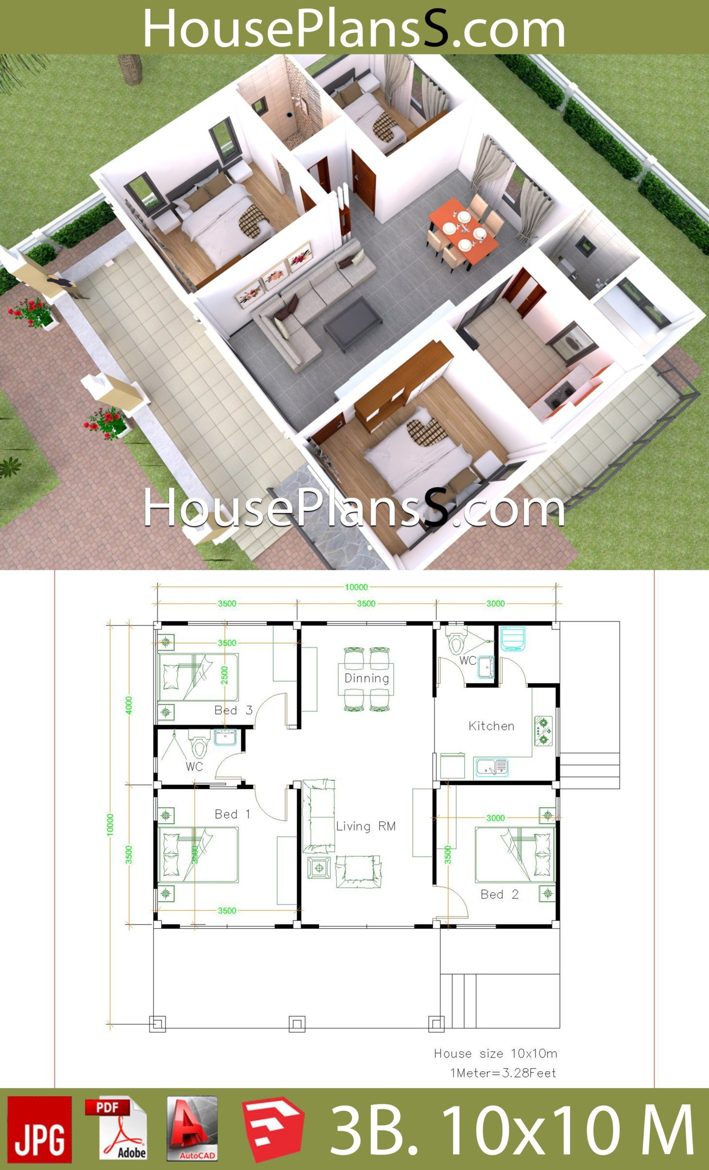 10x10 Bedroom: House Design Plans 10x10 With 3 Bedrooms Full Interior In