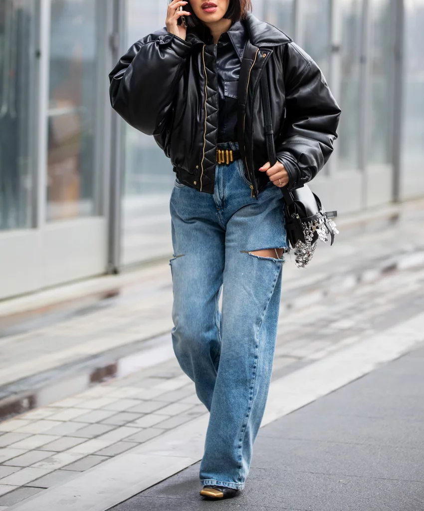 Skater But Make It Fashion With A Distressed Pair Of Baggy Jeans A Leather Jacket And Heels Leather Jacket Style Jeans Blazer Outfit Leather Jacket Outfits [ 1024 x 850 Pixel ]