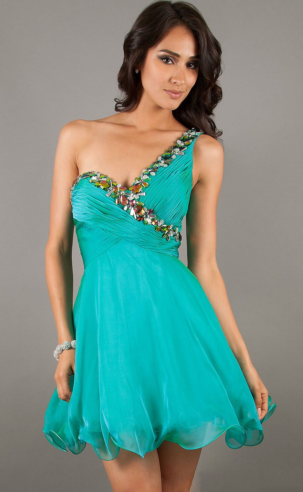 Teal Single Strap A-Line Short Dress With Glitzy Beading | Green ...