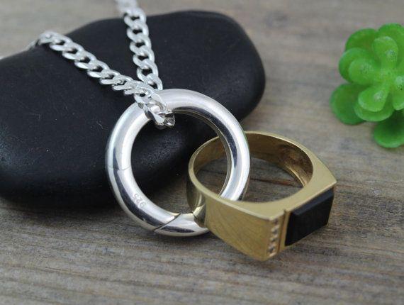 Mens Ring Holder Large Sterling Silver Ring Holder Etsy Ring Holder Necklace Rings For Men Wedding Ring Necklace Holder