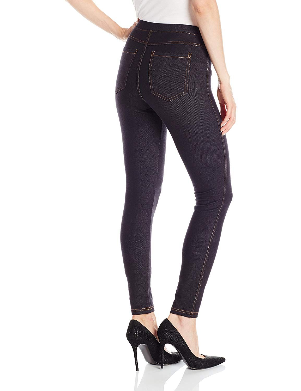 2cd9ed09aa6be No nonsense Women's Stretch Denim Leggings, Dark Denim, Large at Amazon  Women's Clothing store:
