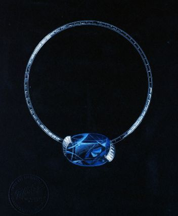Drawing of a necklace with large central sapphire, American, 1936-1953.  From the Trabert & Hoeffer - Mauboussin Archive at the Museum of Fine Arts, Boston.
