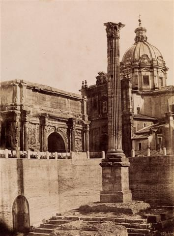 Frédéric Flachéron, Rome, Column of Phocas and the Arch of Septimius Severus, 1849. Collection Paula and Robert Hershkowitz.