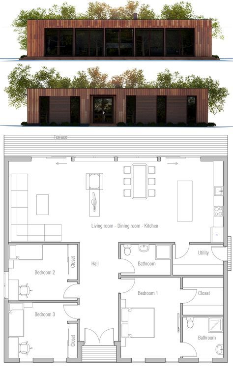 Single Story Home Plan Motivation To Have A Nice Back Yard Easier To Keep An Eye On Kids Or Container House Plans Small House Plans Building A Container Home