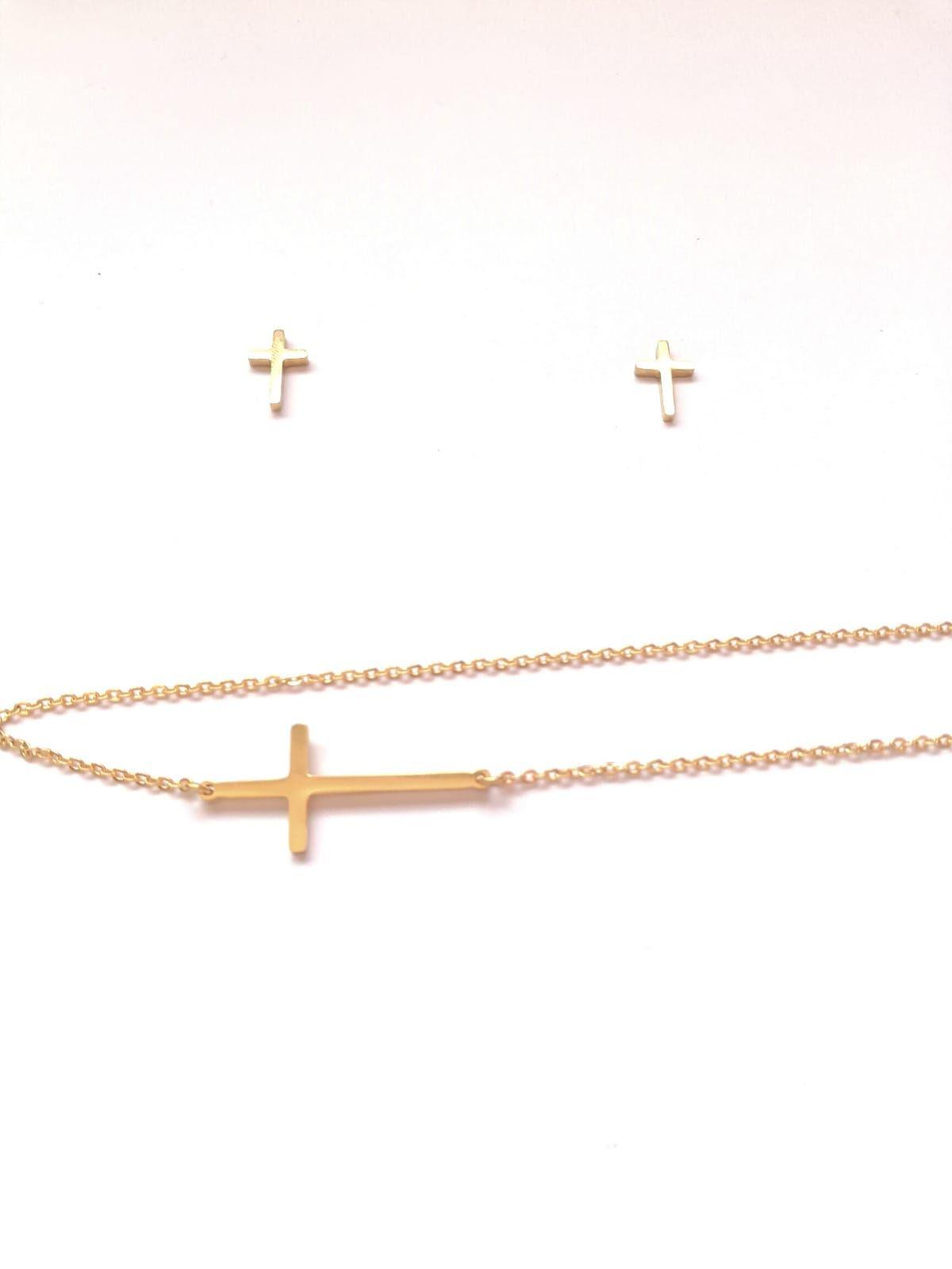 9476bcf808e1 Pendientes cruces+cadena con cruz de acero color dorado tendencia  complementos