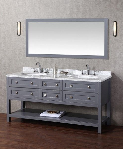 Arlanda 72 Inch Gray Double Sink Bathroom Vanity With Mirror, Handcrafted  And Hand Finished