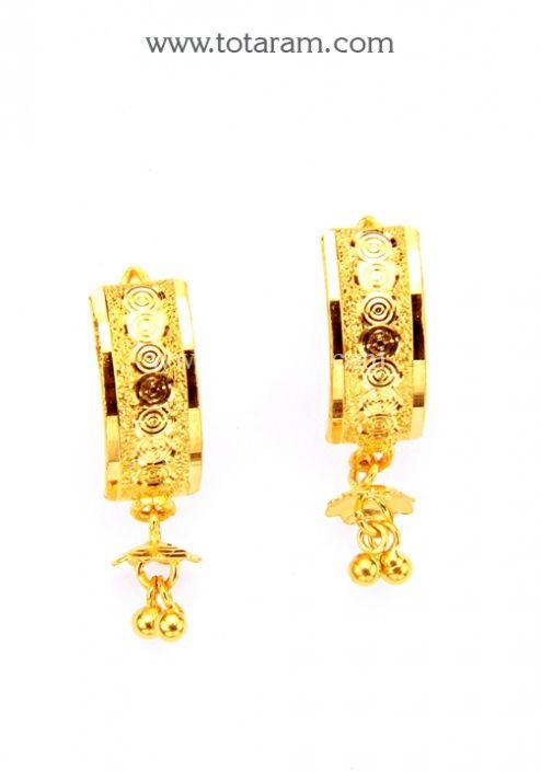 Gold Hoop Earrings Ear Bali In 22k Totaram Jewelers Indian Jewelry 18k Diamond