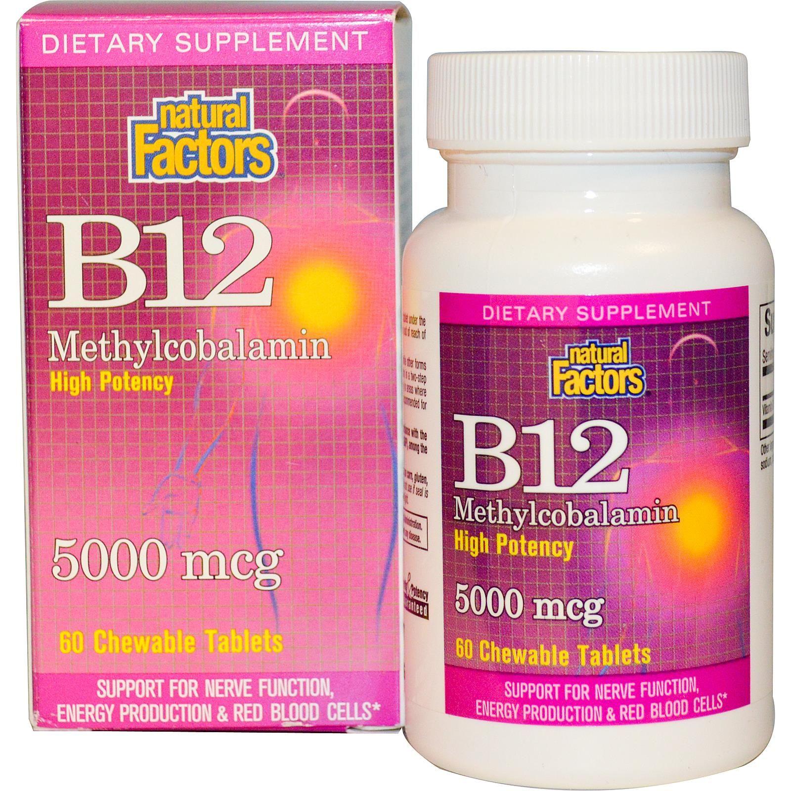 Natural Factors B12 Methylcobalamin 5000 mcg 60 ...