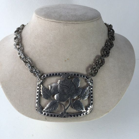Silver Tone Buckle Necklace Chunky Rose Flower Pendant by ravished