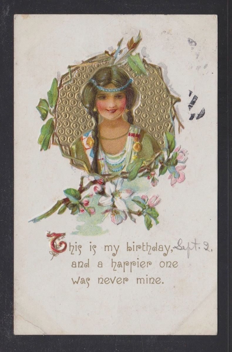 Usa 1913 Native American Indian Woman Birthday Greetings Postcard