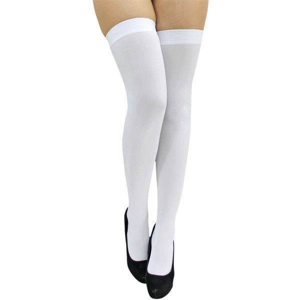 Opaque Knee High Chaussettes Collants blanc