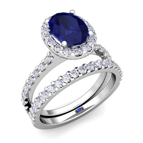 Blue Sapphire Wedding Ring Sets Halo Oval Petite Pave Set Halo