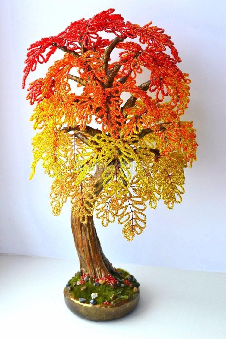 схема дерева из бисера бансай