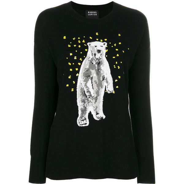 Markus Lupfer sequinned polar bear jumper (€455) ❤ liked on Polyvore  featuring tops