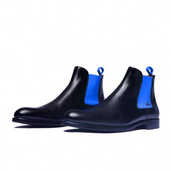 43722fe383ff Serfan Chelsea Boot Herren Glattleder Schwarz Blau