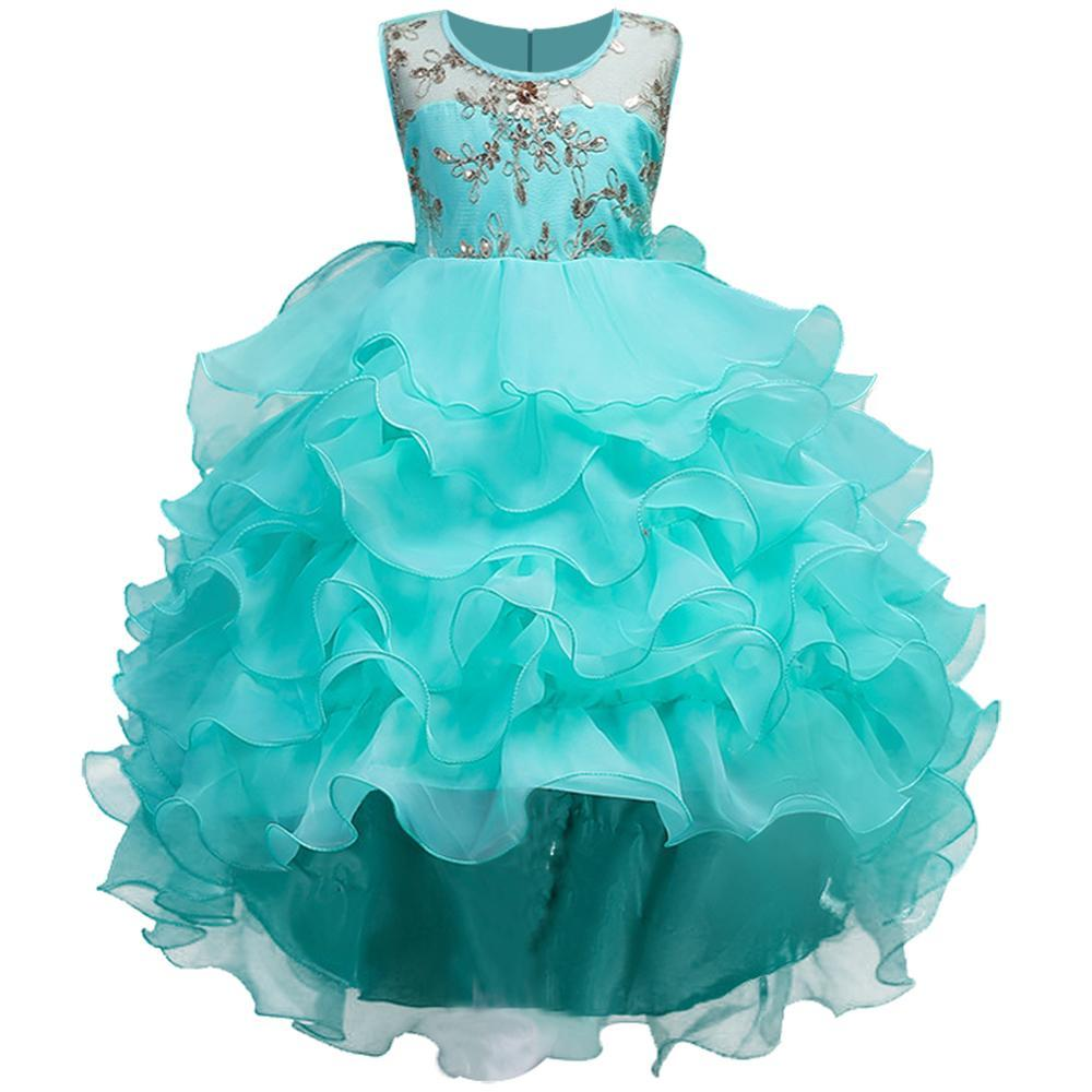 Girls mint tiered ruffle gold embroidered dressy holiday dress