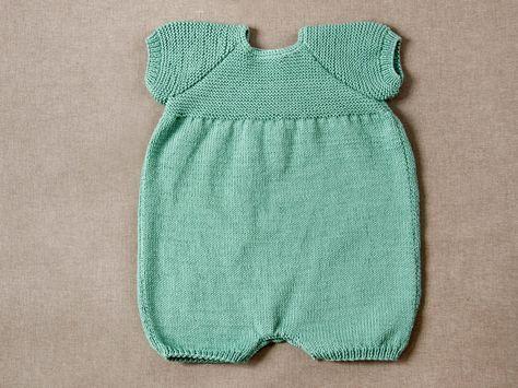 Pelele manga corta tricotado con algodón Rubí Natural | PATRONES ...