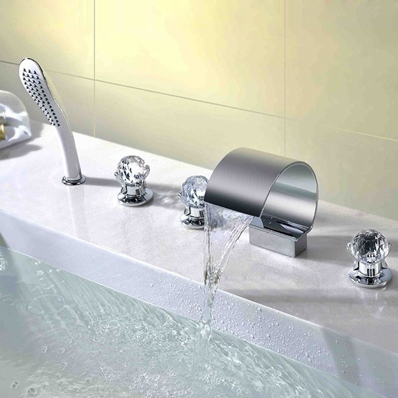 Deck Mount Waterfall Bathtub Tap Thin Moon Shape Tub Faucet With