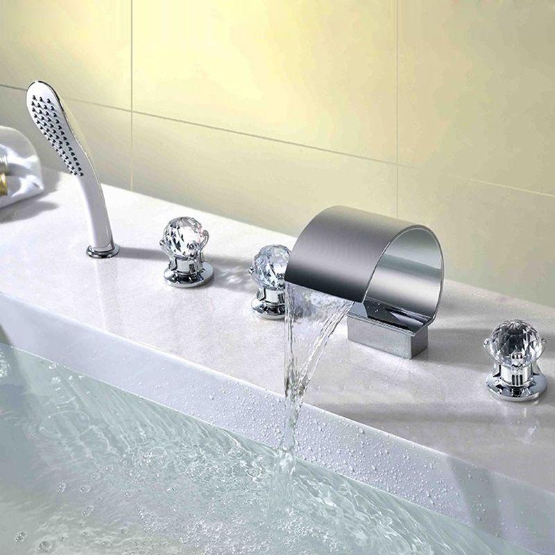 deck mount roman waterfall bathtub tap