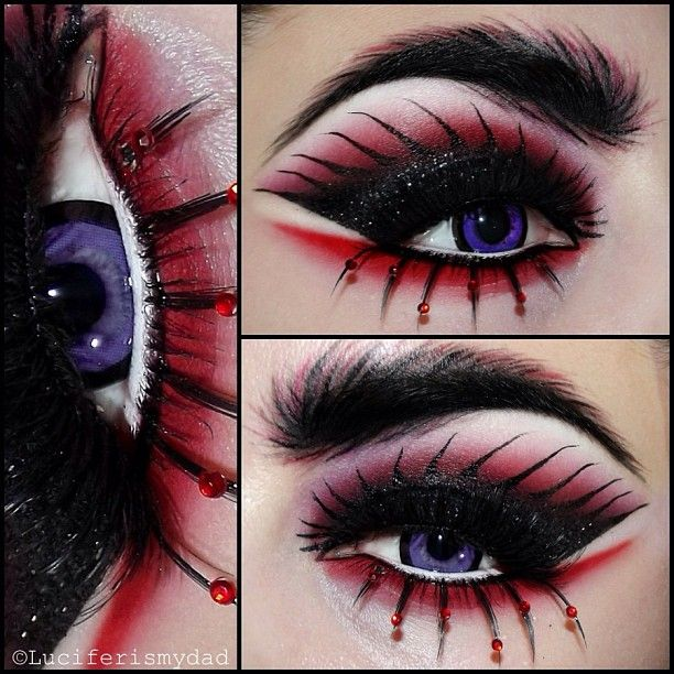 Creative black and red fantasy eye makeup with red crystal accented lashes inspired by Daenerys Targaryen's Dragon from Game of Thrones by MUA Kirsty Childs/KiKi Makeup.