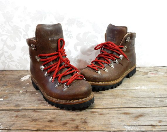 Hiking Boots, Brown Leather Suede Swiss Raichle, Lace up work ...