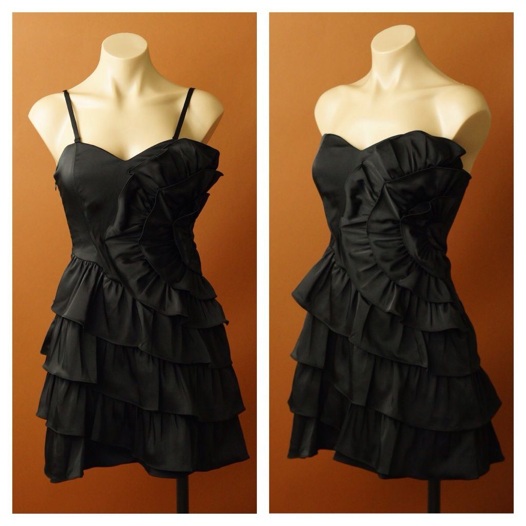 769809a3c1ccb Black Swetheart Tiered Cocktail Dress
