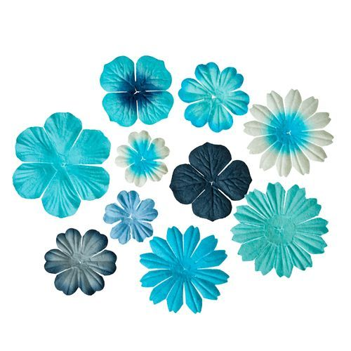 Flores en tonos azules Flores de resina y de papel Pinterest