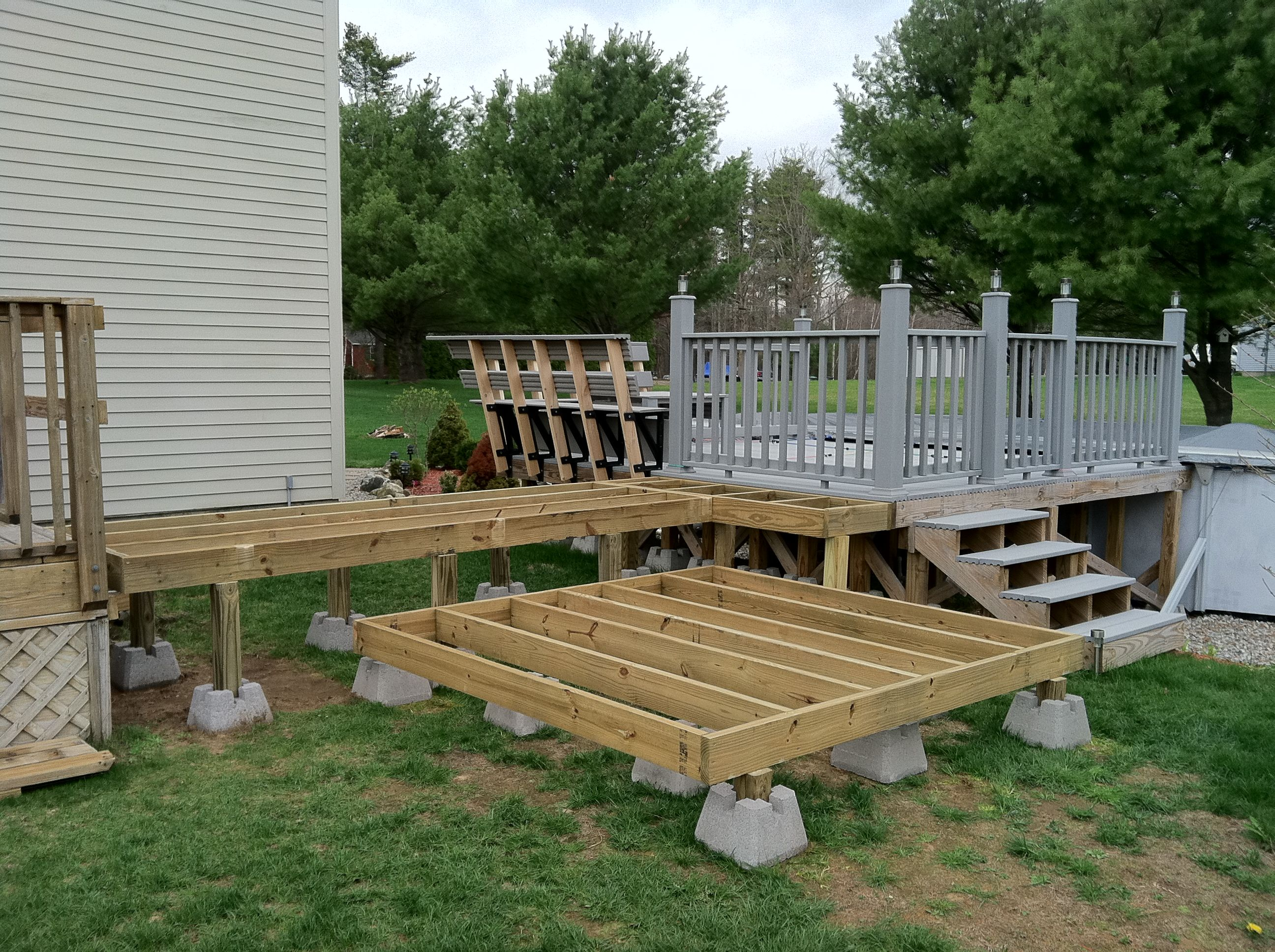 Framework for the hot tub and deck access