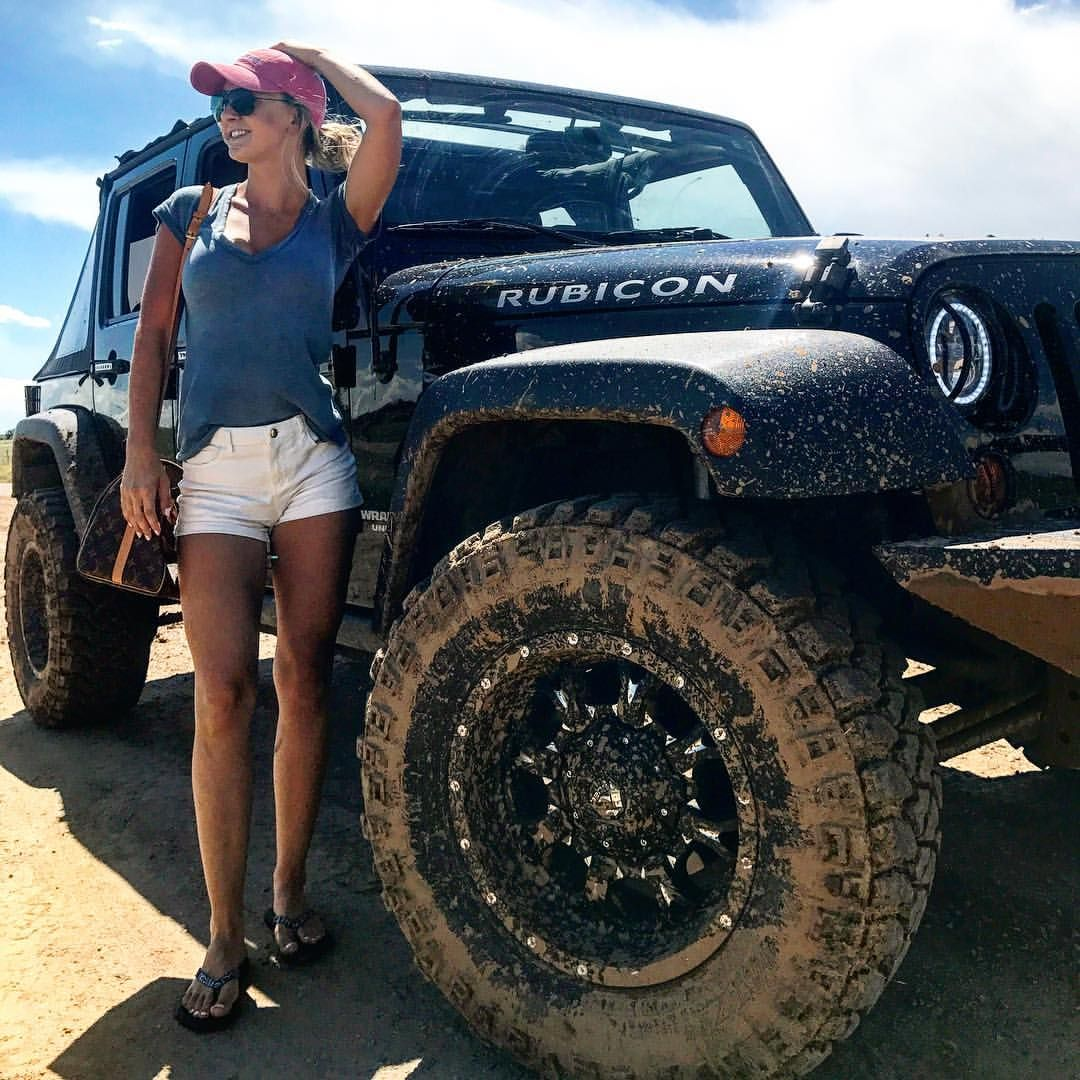 81916523d43 Black Jeep Wrangler Rubicon Jeep Girls Fuel Wheels Halo Lights ...