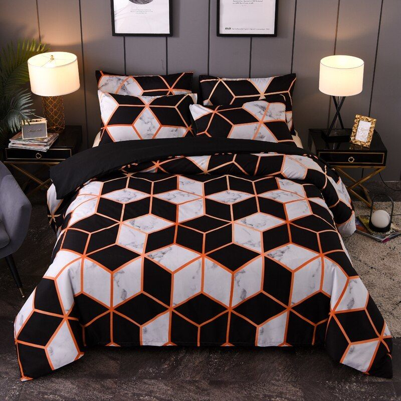 Yuxiu New Black Marbling Geometric Pattern Bed Linen Simple Duvet Cover Sets 3pcs Bedding Set King Queen Si Duvet Cover Pattern Simple Duvet Cover Simple Duvet