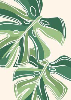 Green Monstera Line art by karsne | Redbubble