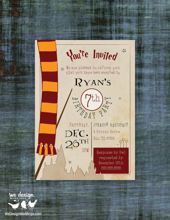 harry potter inspired birthday invitation custom. Black Bedroom Furniture Sets. Home Design Ideas