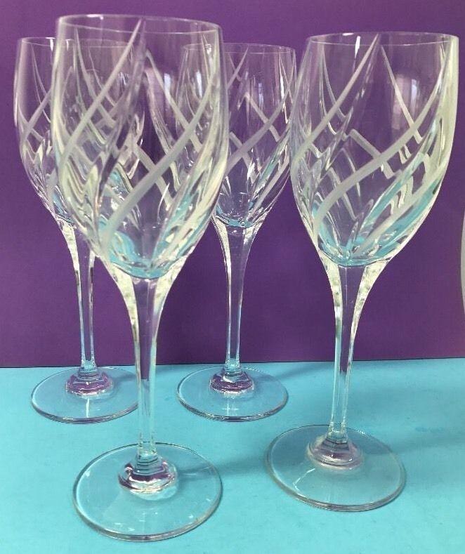 4 Glass Crystal Wine Glasses Swirl Design Etched Tall 9 Stem Clear Wine Set Ebaydanna Wine Set Crystal Wine Glasses Glass