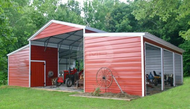 42x31 Enclosed Raised Center Barn With Images Metal Buildings Metal Barn Building A Shed