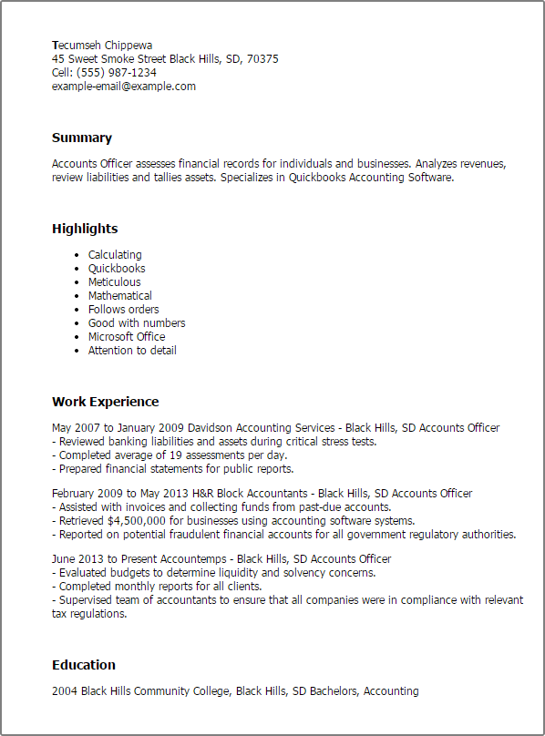 Accounting Officer Sample Resume Resume Examples Quickbooks  Resume Examples  Pinterest  Resume .