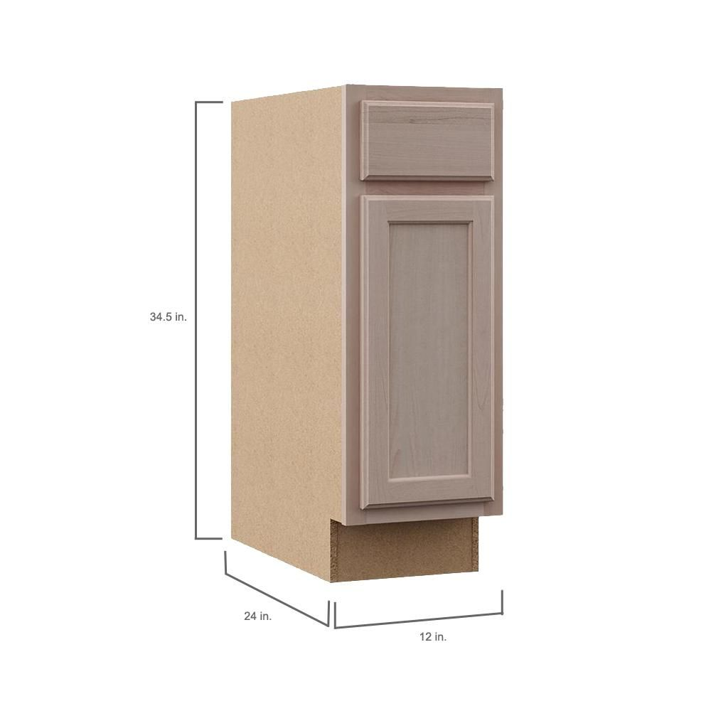 Hampton Bay Hampton Assembled 12x34 5x24 In Base Kitchen Cabinet In Unfinished Beech Kb12 Ufdf Wood Door Frame Solid Wood Doors Home Depot