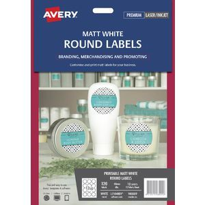 Avery 12UP Removable Round Labels White 10 Sheets | Crafty