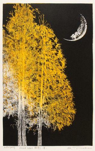 """Yoshikazu Tanaka (Japan, b. 1933) - """"Moonlight, Yellow"""" - Woodblock print (21st century)"""