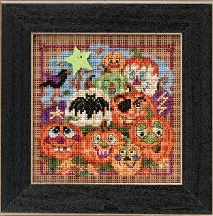 Painted Pumpkins Mill Hill Button & Beaded Cross Stitch Kit  #crossstitch #pumpkins #halloween #jack-o-lantern #bat #crow #autumn #fall #cross_stitch #kit #beaded #needlework #needlecraft #crafts