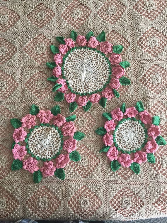 Vintage Crochet Pink Roses Doily Set of 3  by GypsysClosetVintage