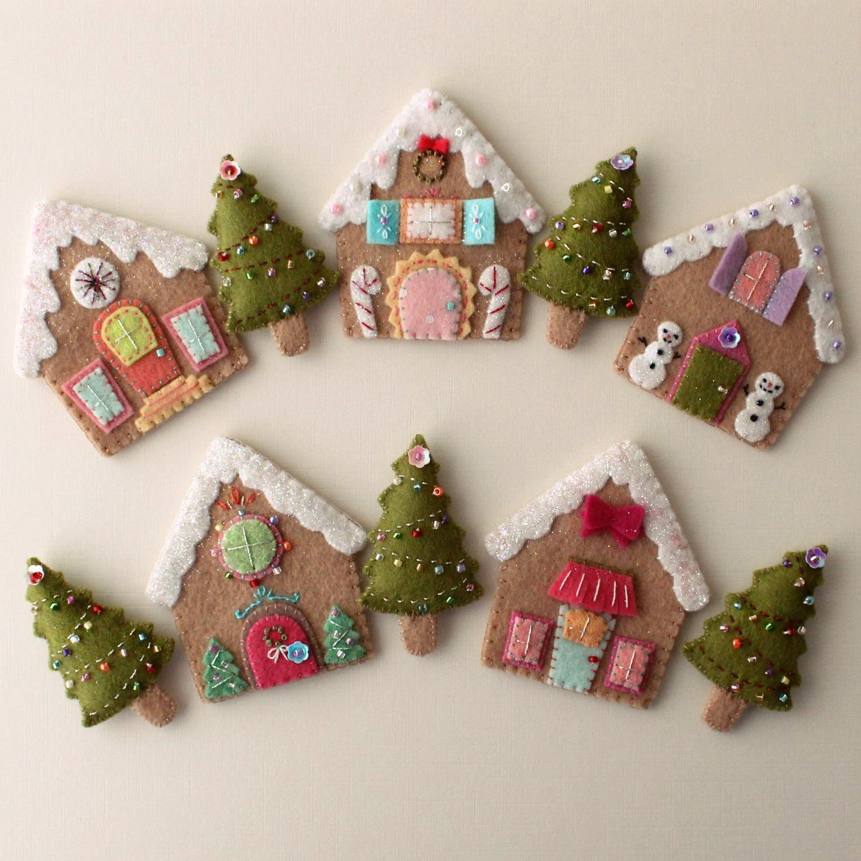Gingerbread Houses Pdf Pattern Felt Christmas Ornaments