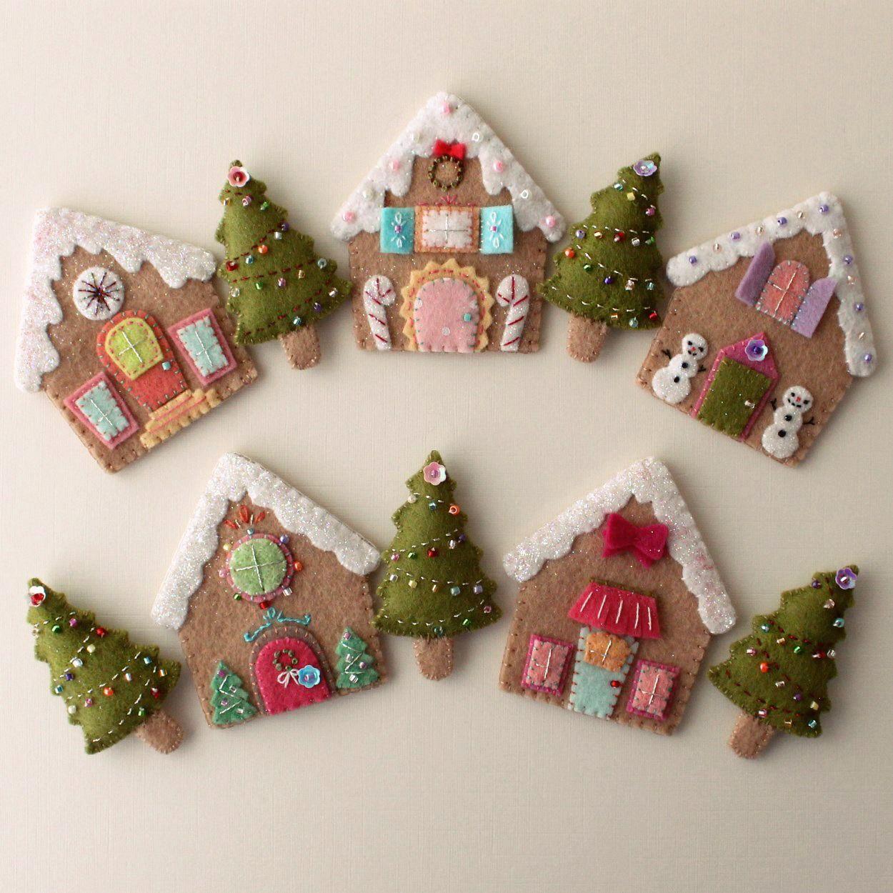 Gingerbread Houses Pdf Pattern Felt Christmas Ornaments