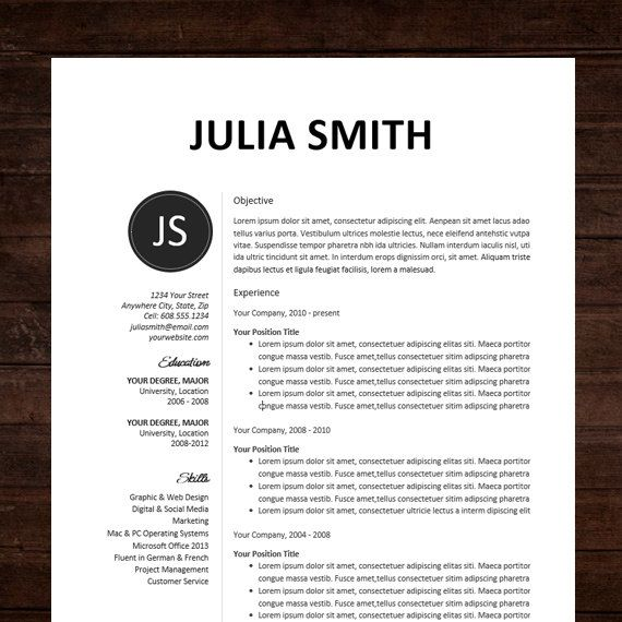 Resume / CV Template, Professional Resume Design For Word Mac Or PC, Free  Cover Letter, Creative, Modern   The Kate | Cv Template, Julia Smith And  Design ...  Free Unique Resume Templates