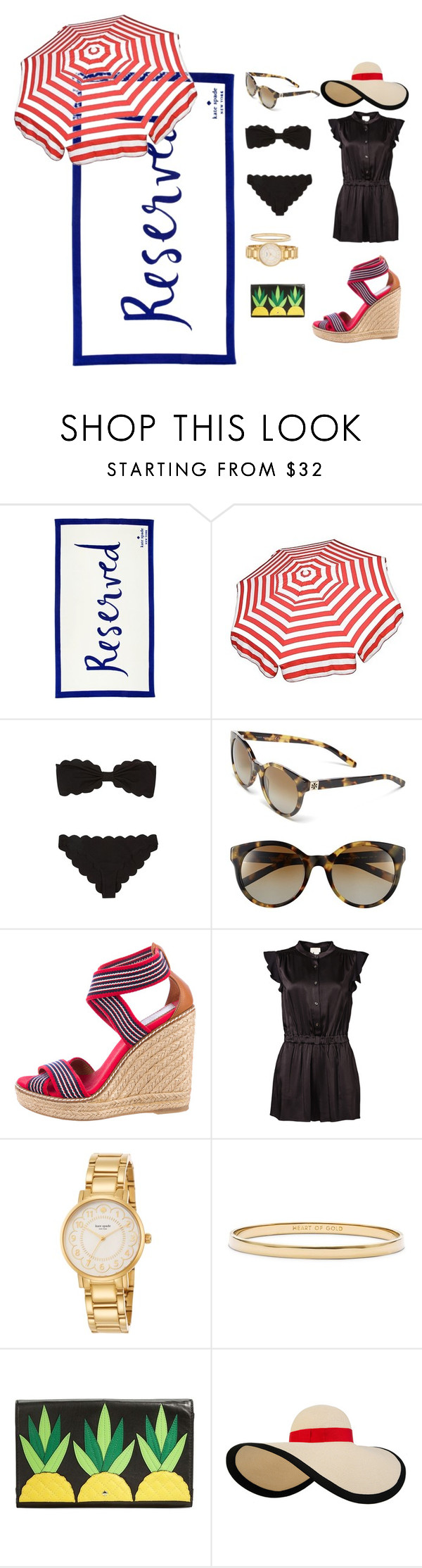 """""""Beach to Town {southern prep}"""" by holly0099 ❤ liked on Polyvore featuring Kate Spade, Parasol, Marysia Swim, Tory Burch and Eugenia Kim"""